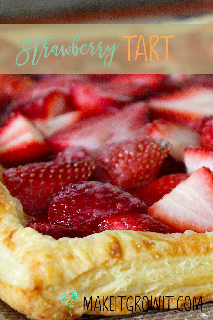 Easy Strawberry Tart with Homemade Whipped Cream by Make It. Grow It.