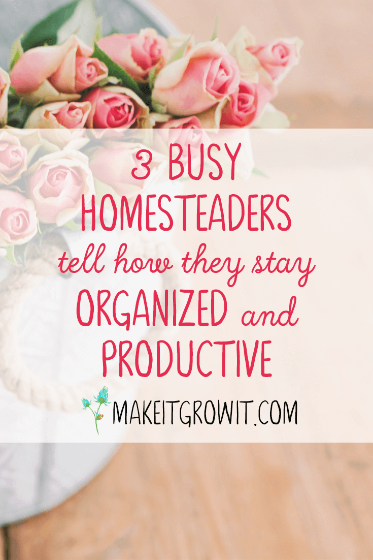 Learn how 3 busy homesteaders stay productive and organized. Click here to read now or Pin It to save for later.