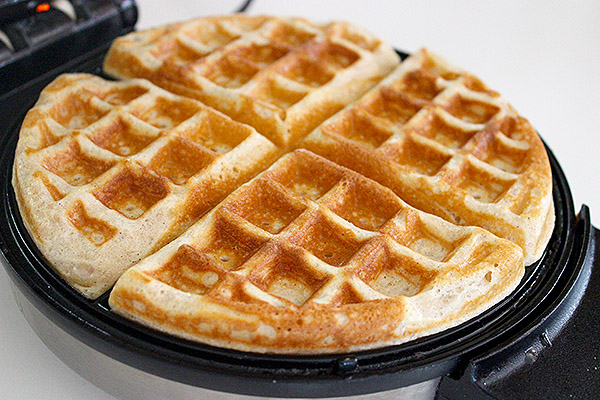 waffles cooked and ready to fix up with toppings